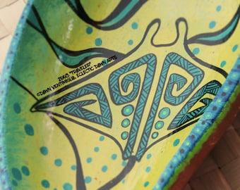 Tribal Manta Ray bowl, AS IS: see photos and description! Tiki bar decor, original art, #2003