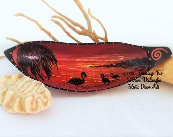 Flamingo Sunset Painted Bowl, original art for your tiki bar, #2006