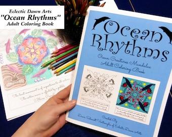 "Sealife Coloring Book, Adult, Ocean Mandala designs, ""Ocean Rhythms"", 24 mandalas, double-sided, great for colored pencils!"