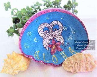 Aloha Spirit Hibiscus and Whale Tail Painted Bowl, Tiki Bar Art, #2010