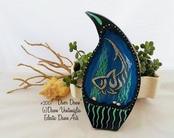 Tribal Thresher Shark painted bowl, original art, #2007