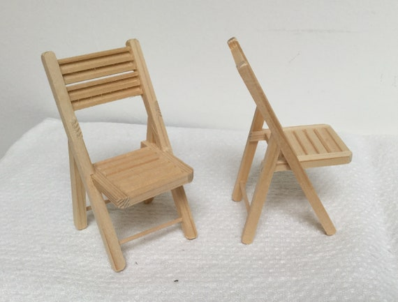 2 Dollhouse Miniature Garden Chairs 1 12 Scale Unfinished Etsy