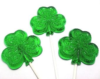 12 LARGE FILIGREE SHAMROCK Lollipops - St Patrick's Day , Irish Wedding