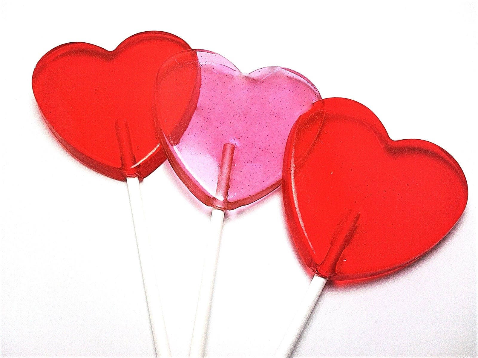 12 LARGE HEART LOLLIPOPS Valentine Lollipops Wedding