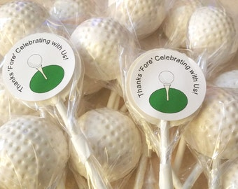 10 GOLF BALL LOLLIPOPS with Free Personalized Labels - Hard Candy Lollipops, Golf Party, Golf Lollipops