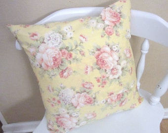 Shabby Chic Yellow Vintage Rose Pillow Cover/ Cottage Chic / Throw Pillow? Decorative Pillows? Shabby Chic Decor