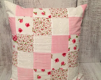 Rose patchwork Eyelet pillow cover/ Decor Pillow cover/ Shabby Chic pillow covers