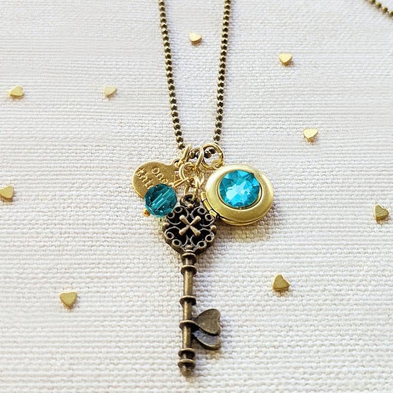 LONG EMERALD Birthstone Adjustable One Soul Vintage Key /& Ball Chain Locket Necklace