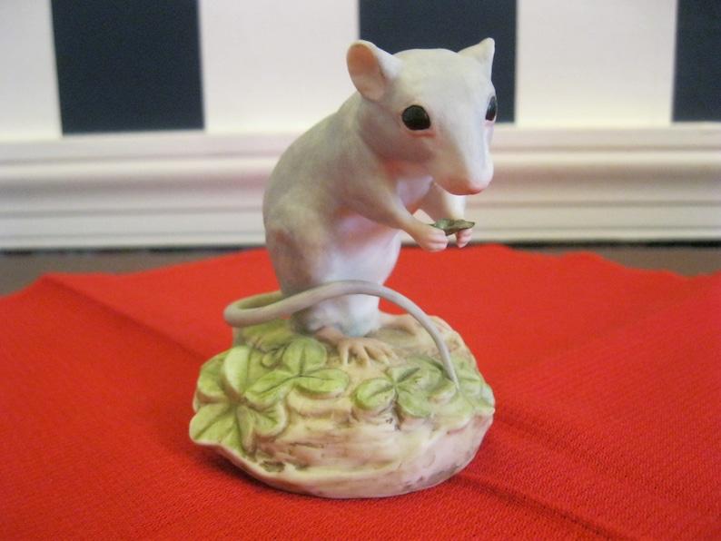 enjoying a snack Cybis bone china mouse