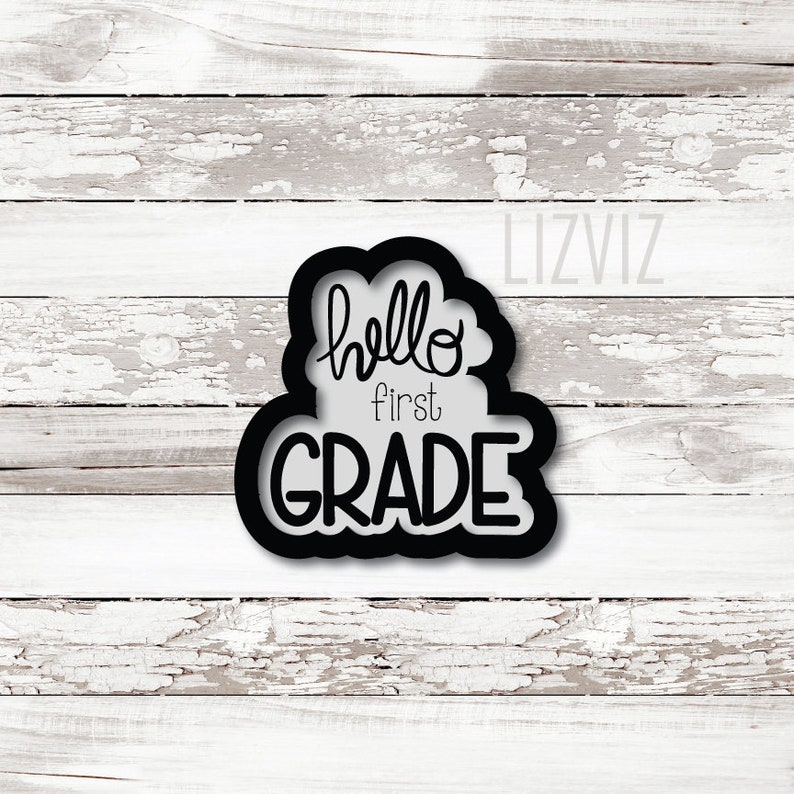 Hello Grade Cookie Cutter. Back to School Cookie Cutter. image 0