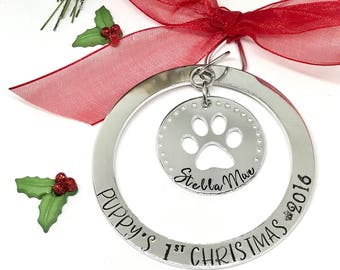 Puppy's First Christmas Ornament - Pets First  - Gifts for Pets - Pet Lovers Gift Ideas - Personalized -