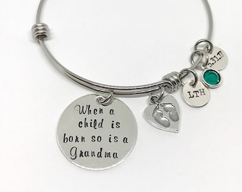Gifts for Grandma - Gifts for Grandmother - New Grandma Gift Ideas - Initial Birthstone Bracelet - Personalized - Ideas for Mothers Day