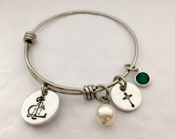 Little Girls Adjustable Bangle - Personalized Religious Bracelet - Children's Bracelet - First Communion Gift Idea - Personalized