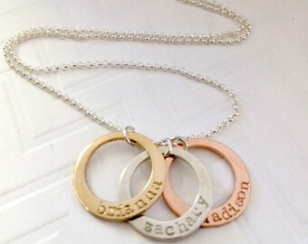 Mixed Metal Ring Necklace - Kids Name Necklace - Gifts for her - Gold Rose Gold Sterling Necklace  -  - Personalized - Mother's Day Gift