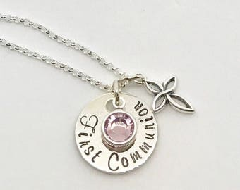 First Communion Gift Ideas - Personalized Necklace - Hand Stamped Jewelry - BIrthstone Jewelry - Religious Gift Ideas - Personalized