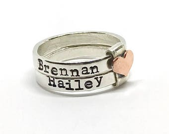 Stacking Kids Name Rings - Sterling Silver Name Rings - Mixed Metal Hand Stamped Rings - Personalized - Gift Ideas for Mom - Name Rings