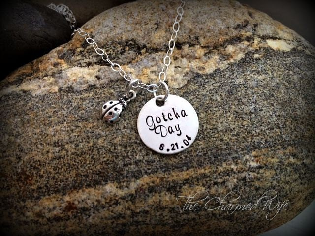 GOTCHA Day Hand stamped necklace Adoption Jewelry Dated | Etsy