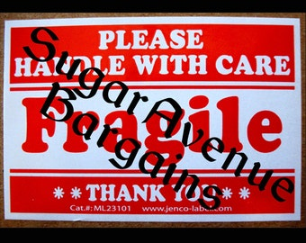 Roll of 50 Fragile Please Handle with Care Stickers/Labels -Free U.S. Shipping -WORLDWIDE 1st Class Mailing Available