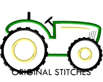 Tractor Applique and Embroidery Digital Design File 4x4 5x7 6x10