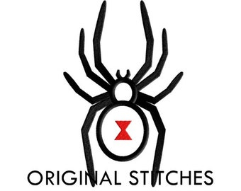 Black Widow Spider Applique and Machine Embroidery Design File 4x4 5x7 6x10