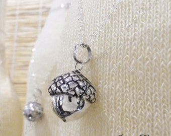 17mm Lucky Sterling Silver Chime Sound Acorn Harmony Ball Pendant Necklace LS69
