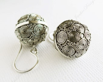 15mm Bali Ornate Ball Swirls Sterling Silver Earrings JD17
