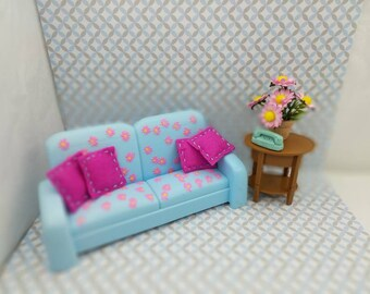 Barbie Living Room Fold Out Sofa With Table And Flowers 11 Dolls Furniture