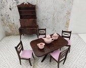 Renwal Dining room Furnishings Table Chairs Sideboard China Hutch Doll House Toy Plastic