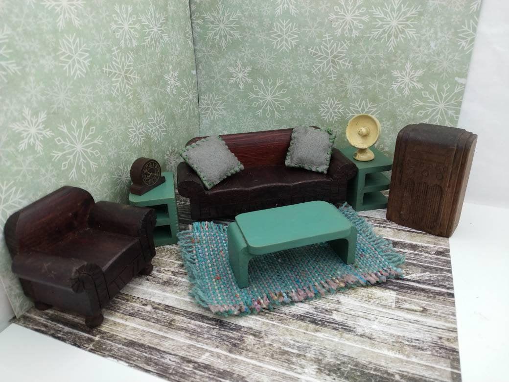 Strombecker Living Room Sofa Chair Tables Radio Shabby Chic Miniature Dollhouse Wood