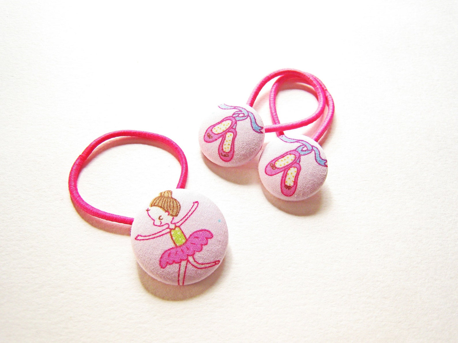 ballerina and ballet shoes for girls hair. ballet themed hair bobble set for ponytail and bunches or plaits. pink.