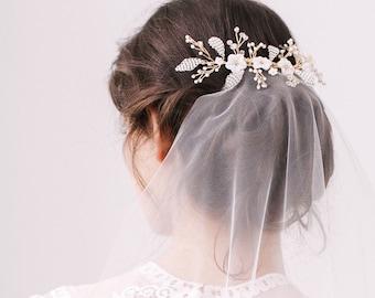 Wedding Hair Vine • Bridal Hair Vine • Floral Hair Vine • Flower Hair Vine • Leaf Hair Vine • Gold Vine • Mother of Pearl Flower Vine