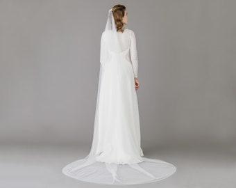 Silk style barely there wedding veil • Minimal wedding veil • Lightweight wedding veil • Wedding veil • Bridal veil • English net veil