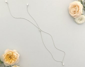Pearl back drop necklace • Silver pearl back necklace • Pearl bridal back drop necklace • Pearl lariat • Silver lariat