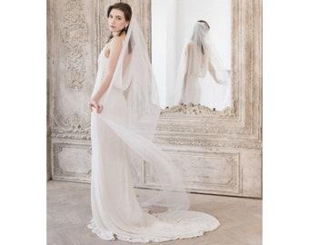 Wedding Veil • Cathedral Length Wedding Veil • Single Tier Wedding Veil • Cut Edge Wedding Veil In ivory, off white or white