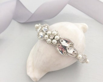 Wedding cuff, Flower wedding cuff, Pearl wedding cuff, Crystal wedding cuff