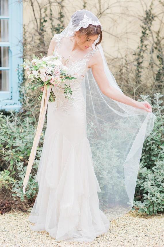 Mantilla Spitze Seide Stil Hochzeit Schleier Mantilla | Etsy