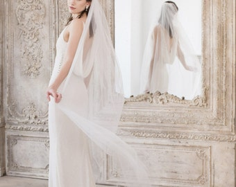 Chapel Length Wedding Veil • Church Length Wedding Veil • Single Tier Wedding Veil • Cut Edge Wedding Veil in ivory, off white or white