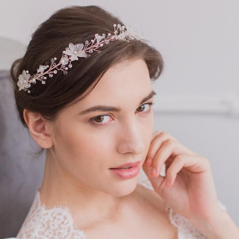 2afe569d4f13a3 Kwiatowe włosy ślubne winorośli Rose Gold wesele Hair | Etsy
