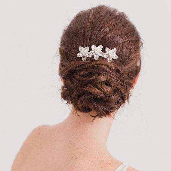 Noces d'argent peigne à cheveux, peigne à cheveux cristal mariage, peigne à cheveux mariage fleur, Floral peigne mariée
