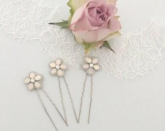 Opal silver flower wedding hair pins, Flower wedding hair pins, Opal wedding hair pins, Silver flower hair pins, Floral hair pins