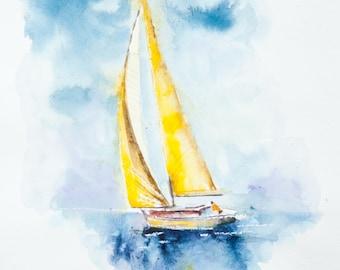 Original YELLOW Art, Sailboat Art sailing Art, Yellow Wall art, Original Water Color, Water Colour Print