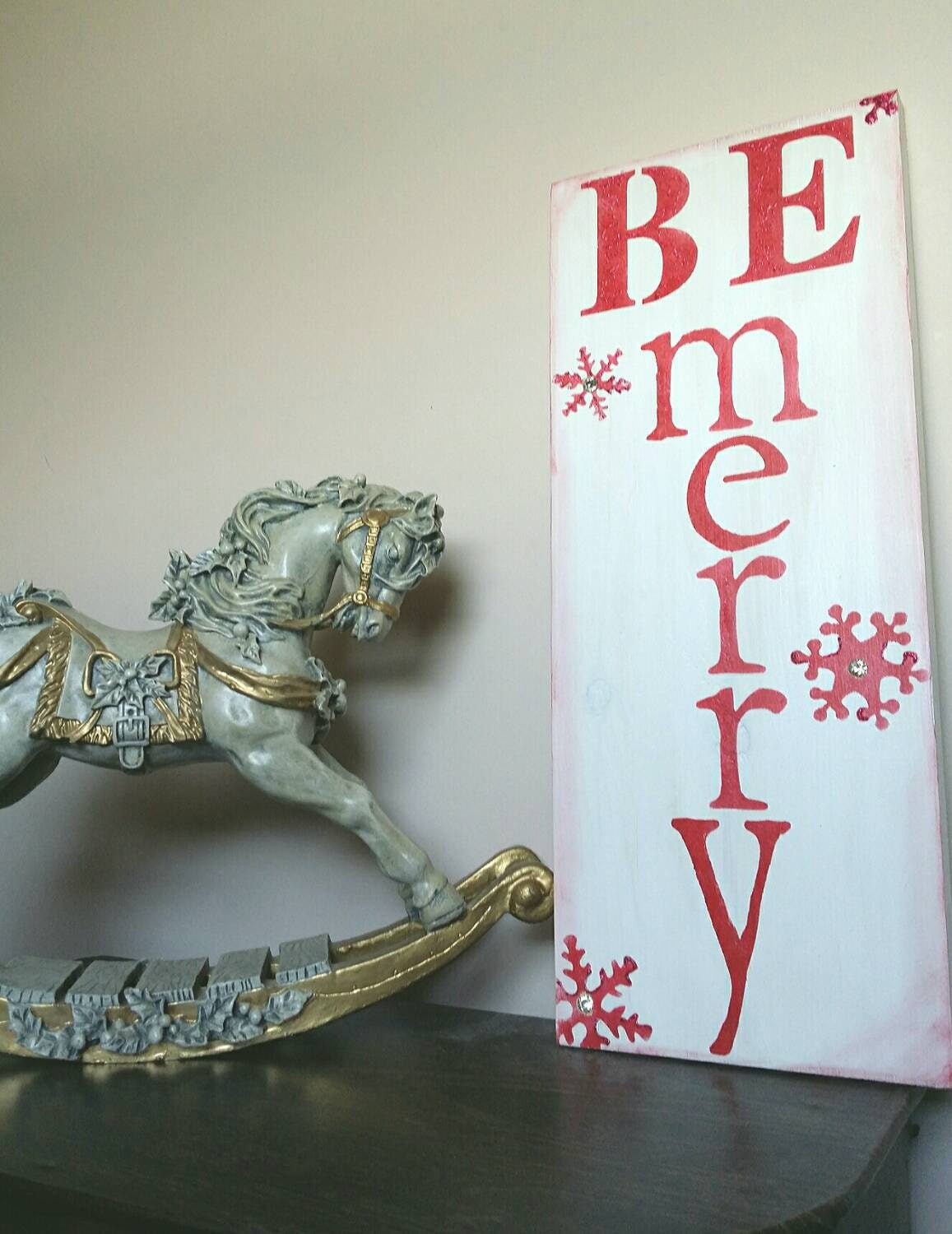 FREE SHIP to USA Be Merry Mantel Sign or Wall Hanging made from wood handmade