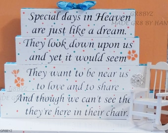 Special Days in Heaven poem table top display handmade memorial decor, bereavement gift, loss of a loved one, keep an open seat, empty chair
