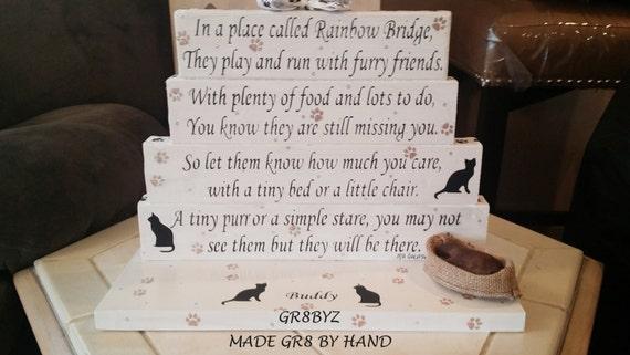 Kat Memorial Gedicht Display Met Kat Bed Brug Naar Een Regenboog Door Gr8byz