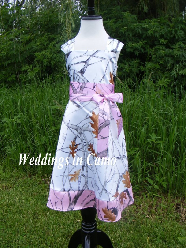 ecd4087a5ec CAMO Flower Girl Dress with BORDER Pick your Camo colors for