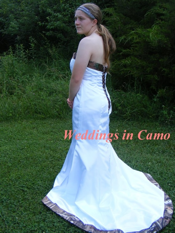 CAMO wedding dress Corset Back CHOOSE your colors