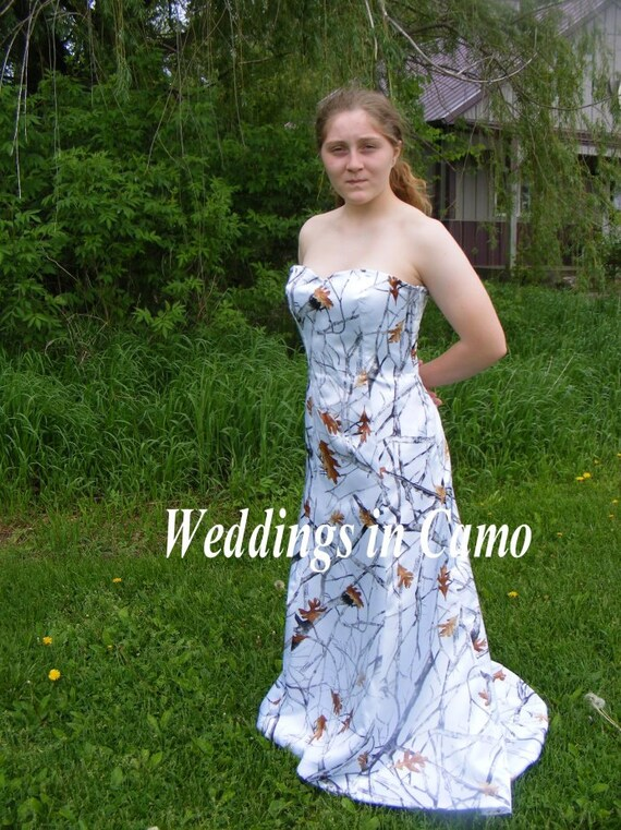 CAMO Formal CAMO Snowfall CAMO wedding dress and Optional Corset back