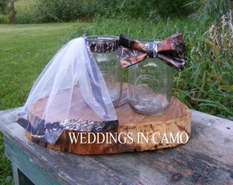 CAMO Decorations for reception MASON jar accents Veil and Bow Tie