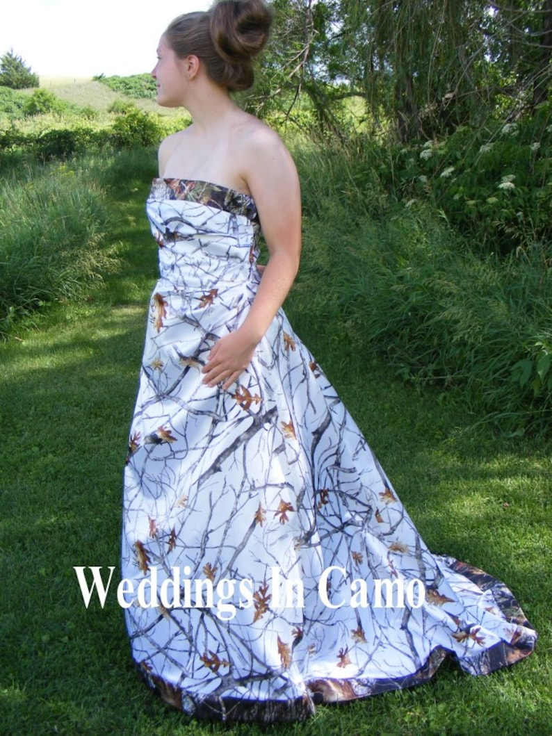 5b19df8e86d22 Camo Wedding Dress Corset Back Snow and Mossy Oak | Etsy