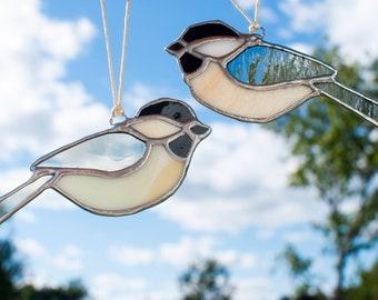 Handmade in Maine Original Stained Glass Black-Capped Chickadee Suncatcher Ornament